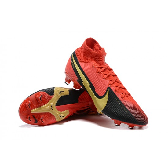 Nike Mercurial Superfly 7 Elite FG Black Deep Red Gold Football Boots