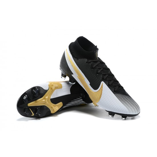 Nike Mercurial Superfly 7 Elite FG Black Gold Silver Football Boots