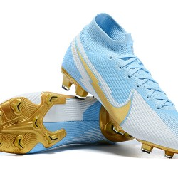 Nike Mercurial Superfly 7 Elite FG Ltblue Gold Grey Football Boots