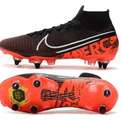 Nike Mercurial Superfly 7 Elite SG-PRO AC High Black White Orange Football Boots
