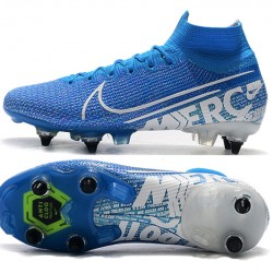 Nike Mercurial Superfly 7 Elite SG-PRO AC High White Blue Football Boots