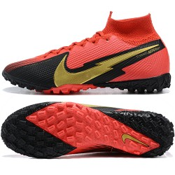 Nike Mercurial Superfly 7 Elite TF Black Gold Red Football Boots