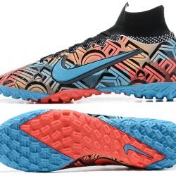 Nike Mercurial Superfly 7 Elite TF Black Ltblue Orange Football Boots