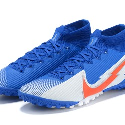 Nike Mercurial Superfly 7 Elite TF Blue Grey Orange Football Boots