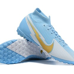 Nike Mercurial Superfly 7 Elite TF Gold Grey Ltblue Football Boots