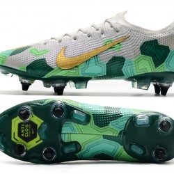 Nike Mercurial Vapor 13 Elite SG Low Grey Gold Green Football Boots