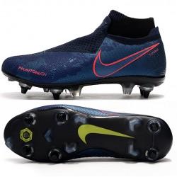 Nike Phantom VSN Elite DF SG-Pro Anti Clog High Deep Blue Black Red Football Boots