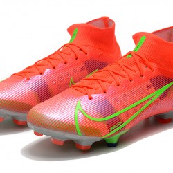 Nike Superfly 8 Elite FG High Mens Womens Green Red Silver Football Boots