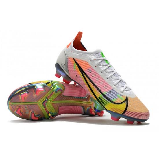 Nike Vapor 14 Elite FG Low Mens Womens White Yellow Black Orange Football Boots