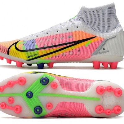 Nike Superfly 8 Elite AG Mid Pink Green Grey Football Boots